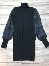BEBE BLACK SILK TURTLENECK BODYCON SWEATERDRESS DRESS TUNIC M MEDIUM BLACK   SFS