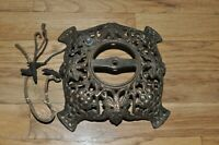 Antique Solid Brass Ornate Lamp Base, Footed Part, Grapes & leaves