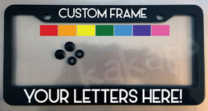 Custom personalized black license plate frame + screw covers COLOR CHOICE Font 4