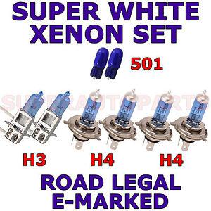 FITS NISSAN X TRAIL TODOTERRENO 01-02 H3 H4 501 XENON SUPER WHITE LIGHT BULBS
