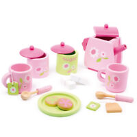 17 Piece Wooden Tea Set Kitchen Role Play Toy Food Tea Party Pretend Kids Girls