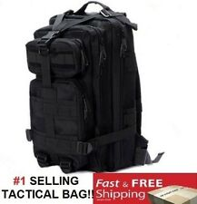 """New 17"""" Black BACKPACK DAY PACK Bug Out Bag Survival Tactical Military Emergency"""