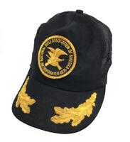 Vintage NRA Trucker Hat Golden Leaf Mesh Snapback Cap Black Gold Capitans P