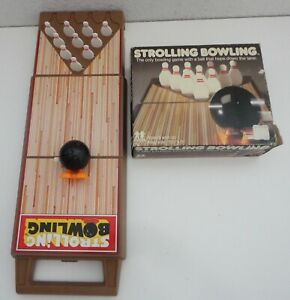 Vintage TOMY STROLLING BOWLING Wind-Up Toy Game w/ Box 1980s