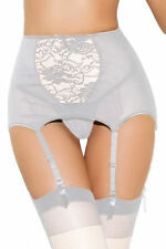 5XL Crossdresser Sissy Plus Size High waisted White Lace Hollow out Garter Belt
