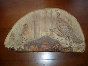 GREAT FOLK ART CARVED PAINTED SHELF FUNGUS SIGNED PAIR TURKEYS / GOOSE  - OLD!