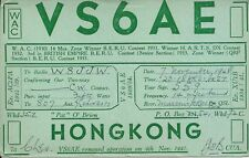 OLD VINTAGE VS6AE HONG KONG AMATEUR RADIO QSL CARD