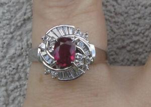 $ 10,560 Natural Untreated Burmese Ruby F-G/VS Diamonds Platinum Gold Ring.