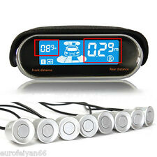 New Dual-Core LCD Display Car Reverse Parking Radar Alert System 8 Silver Sensor