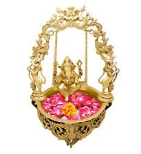 Brass Urli Floating Flower Pot Stand w God Ganesha Statue Sculpture Unique Decor