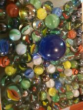 Vintage glass marbles lot lg blue white and orange