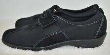 MUNRO WOMEN'S SNEAKERS Black Suede/Fabric Trim Adj Strap Tennis Shoes ~ Size 9N