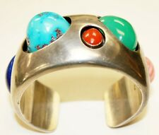 SUPERB KIM RAWDIN: 'THE SKY PAINTS' STERLING SILVER GEMSTONE CUFF/BRACELET