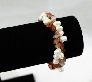 Freshwater White Baroque Pearl & Citrine Crystal Stretch Bracelet