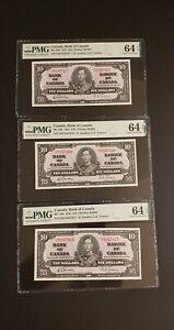 VERY RARE 3 CONSECUTIVE 1937 Canada $10 Banknotes. PMG Verified. UNC 64. EPQ.
