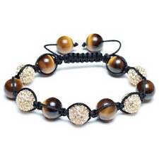 Brown Tiger Eye Pave Crystal Beads Shamballa Bracelet Black Cord