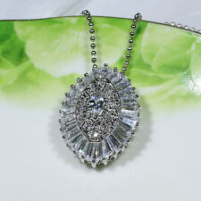 18K White Gold Filled CZ Women Fashion Jewelry Luxury Necklace Pendant P2000