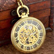 Luxury Golden Mechanical Pocket Watch Windup Steampunk Antique Chain Gift Retro