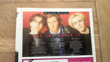 DURAN DURAN Song Words : All She Wants Is   magazine photo 8x6 inches