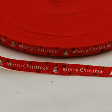 Printed Cotton Ribbon Trim - Merry Christmas - Red - 100 Metres Roll - 1cm Wide