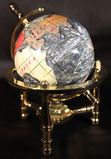 Multi-Gemstone 90mm Desktop Globe In Black Pearl on Gold Tone Base Free S&H