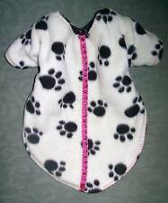 Pet Dog Cover Outerwear Black & White Paw Prints Pink Stripe Size Small Puppy