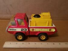 MINI TONKA Fire Pumper Red and Yellow Truck Vintage Pressed Steel Toy 9""