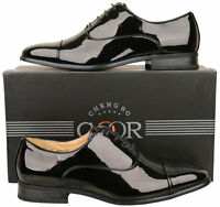 Mens New Black Leather Lined Capped Patent Wedding Shoes Size 6 7 8 9 10 11 12