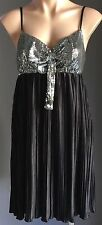 NWT Silver Sequin & Black AVOCADO Pleated Baby Doll Dress Size 12