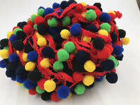 5yards Colorful Pompom Fringe Trim Braid Rainbow Tassel Lace Ribbon 2.5 Width