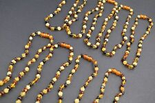 Baby Kids Amber necklaces 10 pcs Round beaded beads Multicolored 13 inch Pure Ba