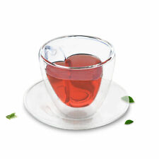 4x Sets of Heat Resistant Double Wall Glass Heart Shaped Tea Coffee Cup + Saucer