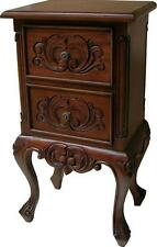 French 2 Drawer Bedside Table Cabinet Solid Mahogany Bs007