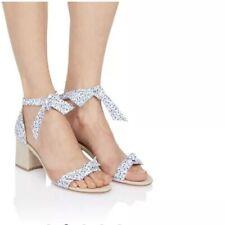 Alexandre Birman Clarita Floral Block Heel Ankle Tie Bow Sandals Blue Size 38