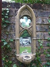"""Gothic Arch mirror single candle sconce stone home or garden ornament 53cm/21"""" H"""