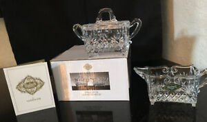Shannon Crystal Creamer & Sugar Set MINT In Box Godinger Silver Art Co. Sparkly!