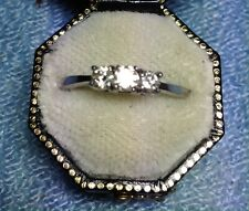 HALLMARKED PLATINUM DIAMOND TRILOGY RING  SIZE M  6