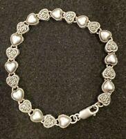 """925 Sterling Silver Vintage Marcasite Gem Heart Design Link Bracelet 8"""""""