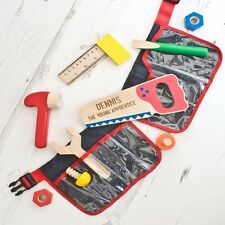 Personalised Childrens Play Toy Tool Belt Set & Wood Boys Wooden Tools