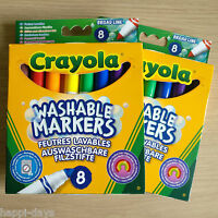 2x NEW - 8 CRAYOLA WASHABLE COLOUR MARKERS - Broad Line Felt Tip Pens 2 x PACKS