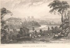 """""""Exeter - from Exwick Hill"""" - ANTIQUE PRINTengraving by William Henry Bartlett"""