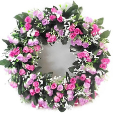 Large Artificial / Silk Flower Wreath Pink and Lilac Rosebuds and Gyp  Memorial