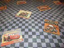VTG DISNEY PIXAR CARS- TWIN FLAT SHEET - RACE TRACK CHECKER MC QUEEN- MATER