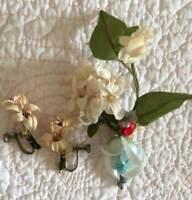 VINTAGE Millinery Handmade Flower Pin & Earrings Blue Rose & Pink Flowers