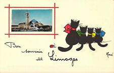 Black Momma Cat and 3 Black Kittens, French Publ,   Old Post Card