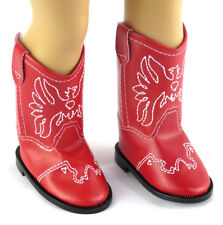 """For 18"""" American Girl Red Cowboy Cowgirl Western Boots Doll Clothes Patriotic"""