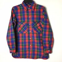 Vintage Woolrich Mens Medium Blue/Red/Green Check Long Sleeve Button Front Shirt