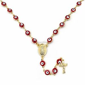 """14k Gold Plated Evil Eye Bead Rosary with Guadalupe Cross Charm 20"""" Red"""