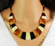 Amber Necklace Multicolour Trapezoidal - Slices Natural Jewelry From Handmade
