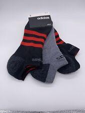 Adidas, 2, Black & Red, 1 Gray & Black No Show  3 Pk Socks 6-12